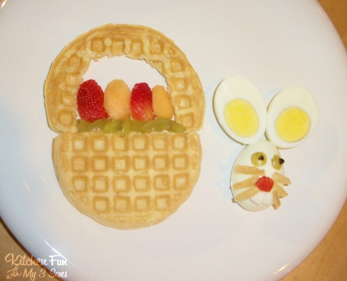 Easter Bunny Waffle Basket Breakfast from KitchenFunWithMy3Sons.com