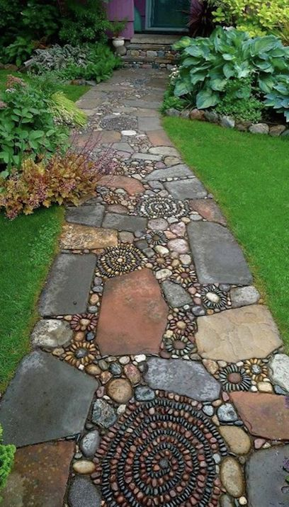 DIY Mosaic Pebble Garden Path...these are the BEST Yard Art Ideas!