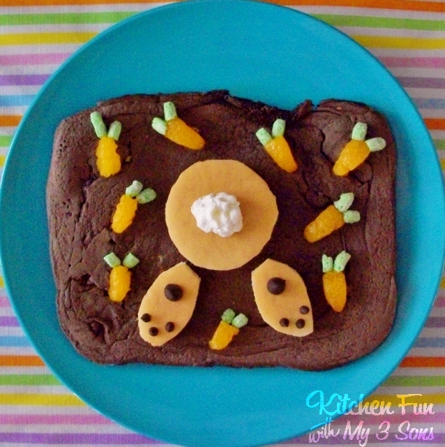 Easter Bunny Butt Pancakes for Breakfast from KitchenFunWithMy3Sons.com