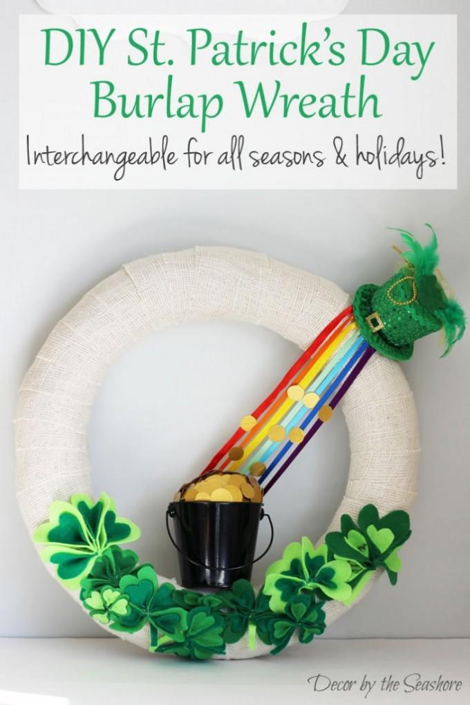 DIY St. Patrick's Day Rainbow Burlap Wreath