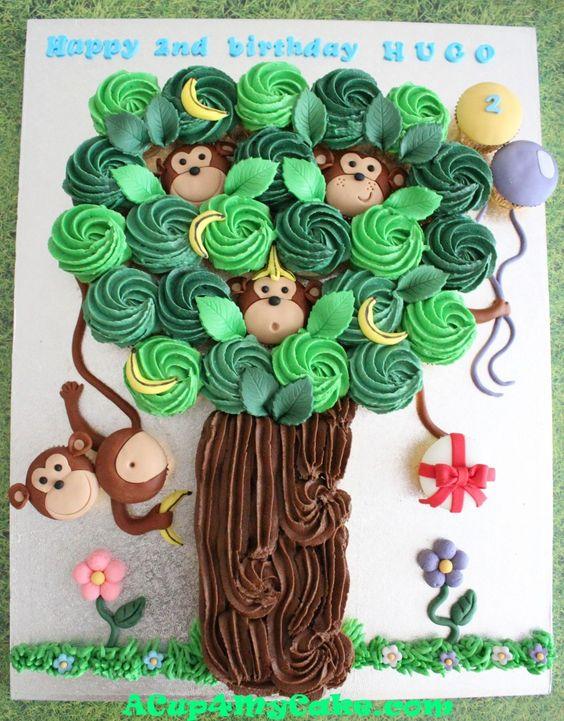 Monkey Tree Cupcake Cake
