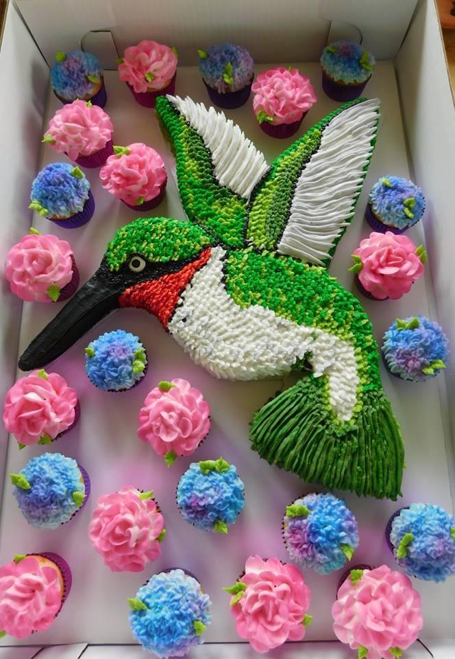 Hummingbird Cupcake Cake