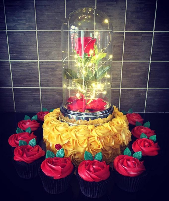Beauty and the Beast Cake with Cupcakes
