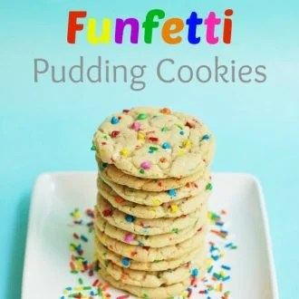 White Chocolate Funfetti Pudding Cookies...with Cake Batter & Rainbow Chocolate Chips & Sprinkles from KitchenFunWithMy3Sons.com