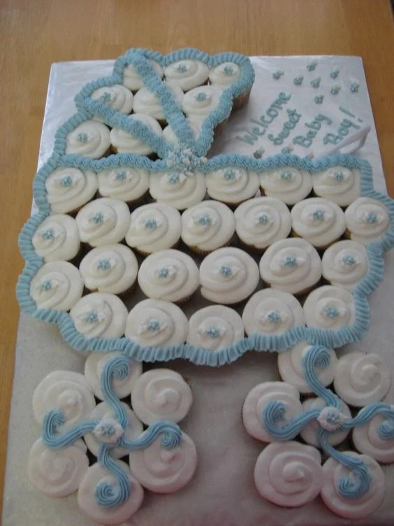 Baby Carriage Cupcake Cake...these are the BEST Baby Shower Ideas!