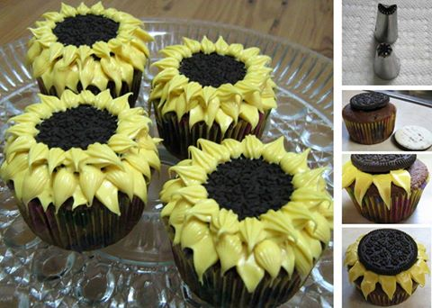 Sunflower Cupcakes...these are the BEST Cupcake Ideas!