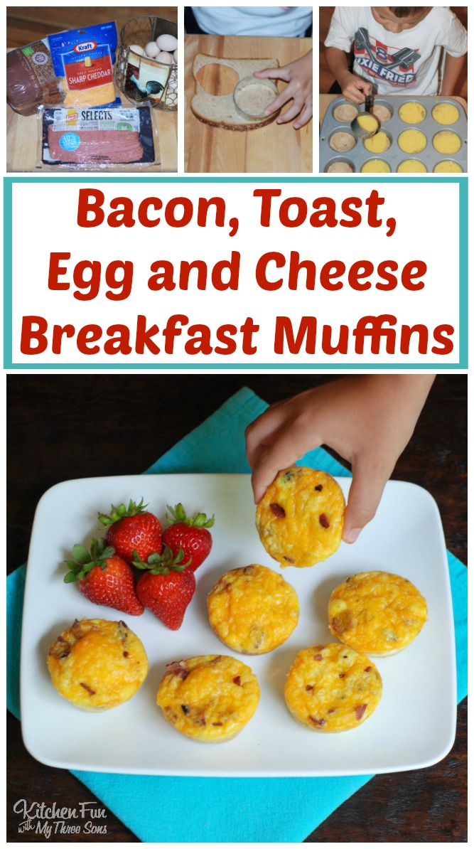 Easy Bacon, Toast, Egg & Cheese Muffins....the BEST Back to School Breakfast idea!