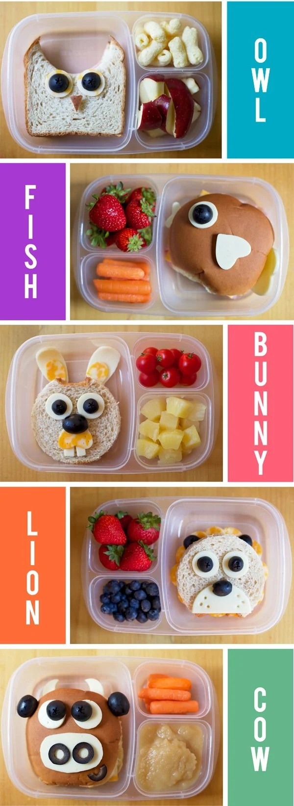 Animal Themed Lunch Box Ideas...these are the BEST School Lunch Ideas!