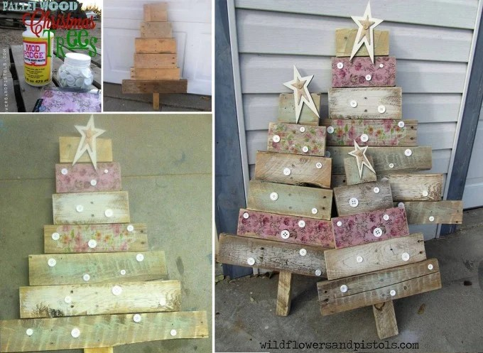 DIY Wood Pallet Christmas Trees...these are the BEST Homemade Christmas Decorations & Craft Ideas!