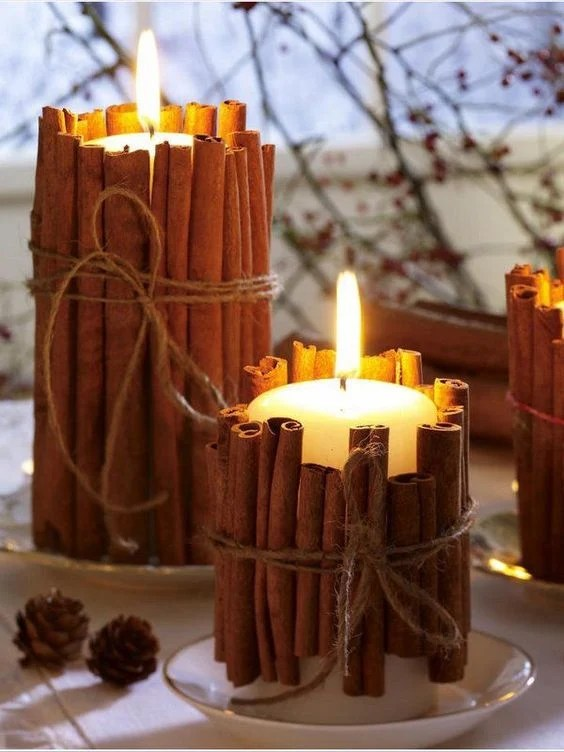 Cinnamon Stick Candle Holders...these are the BEST Fall Craft Ideas & DIY Home Decor Projects!