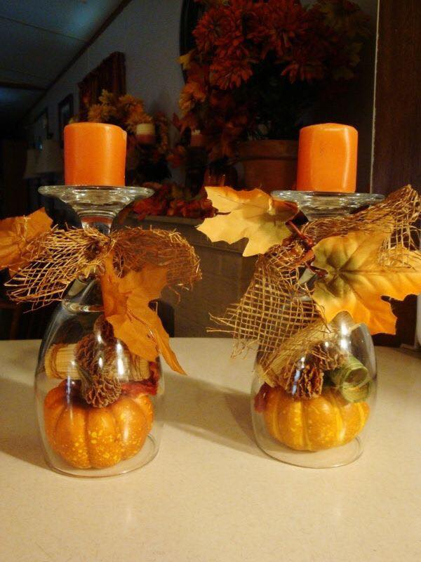 Fall Candle Holder Centerpiece using Wine Glasses...these are the BEST Homemade Fall Decorations & Craft Ideas!