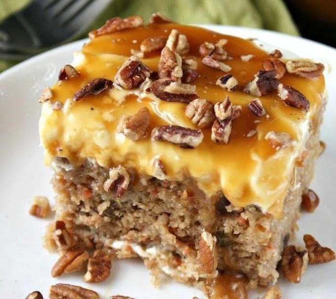 Sea Salt Caramel & Carrot Poke Cake...these are the BEST Fall Dessert Recipes!