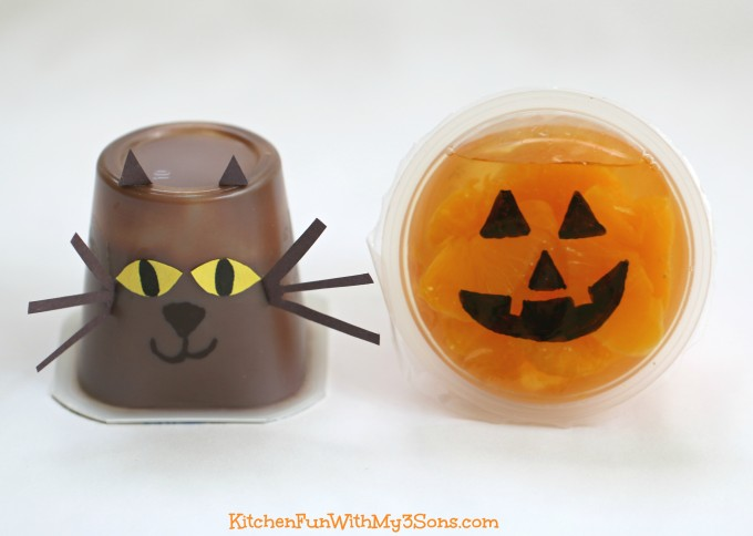 Fruit, Pudding, & Halloween Jello Cups...a Fun & Easy Snack for Kids!