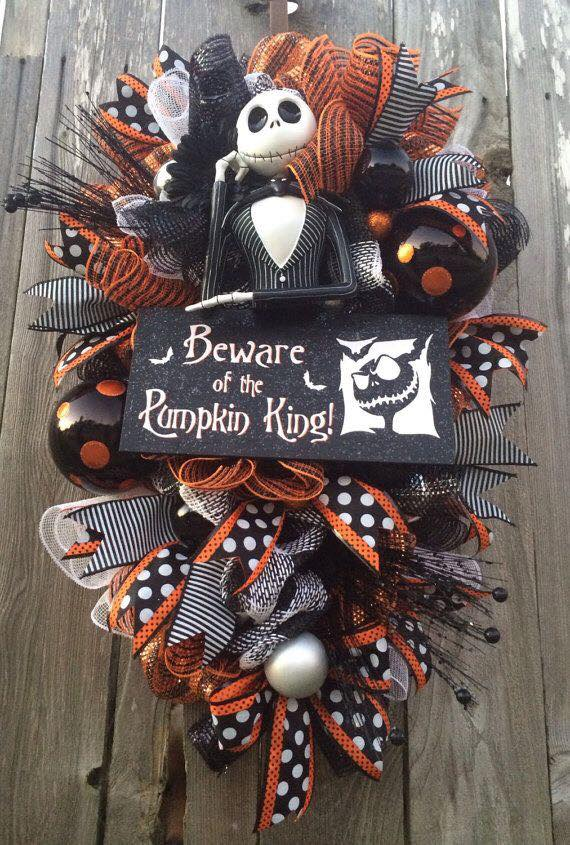 Night Before Christmas Jack Skellington Wreath...these are the BEST Homemade Halloween Decorations & Craft Ideas!