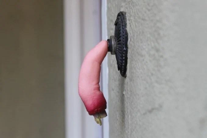 Attach a Finger to the Doorbell for Halloween! These are the BEST Homemade Halloween Decorations & Craft Ideas!