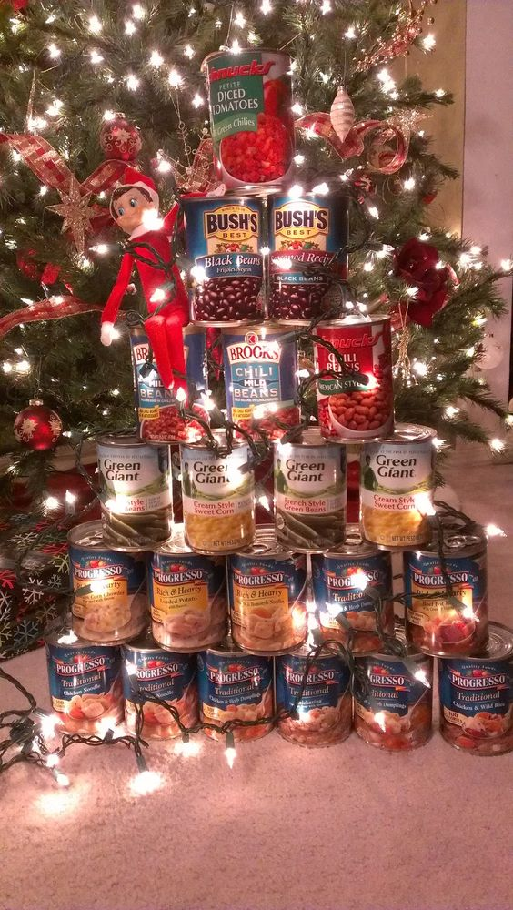 Christmas Tree made out of Canned Foods