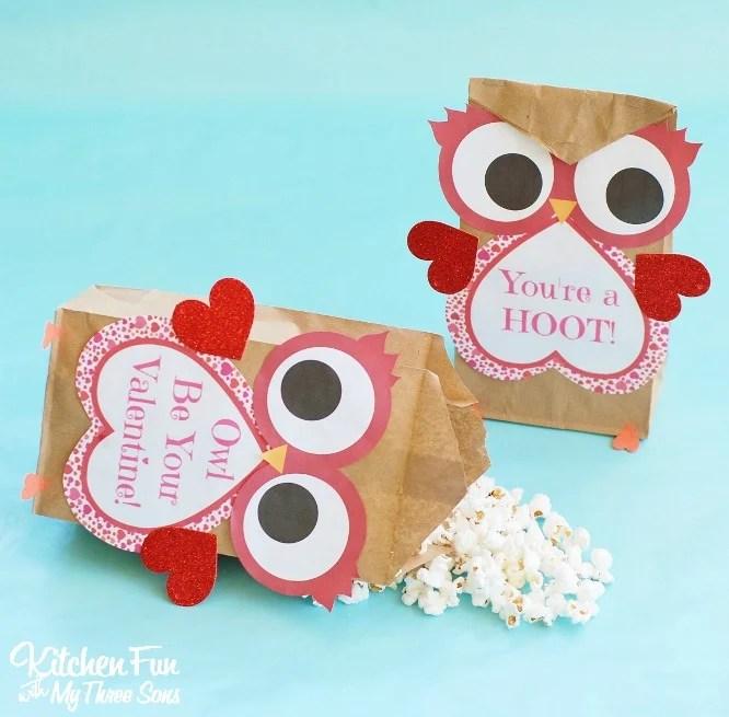 Valentine Owl Popcorn Bags