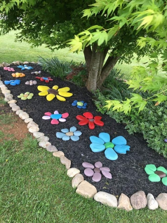 Painted Flower Stones for a Garden