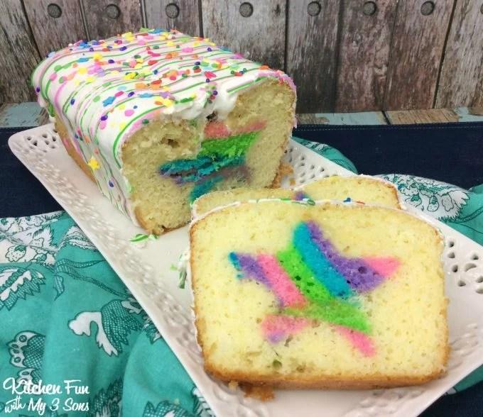 Easy Rainbow Birthday Surprise Loaf Cake