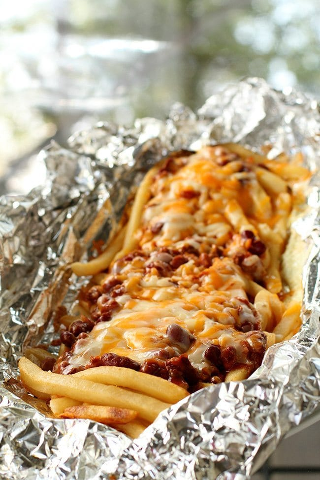 Campfire Chili Cheese Fries...these are the BEST Camping Recipes!