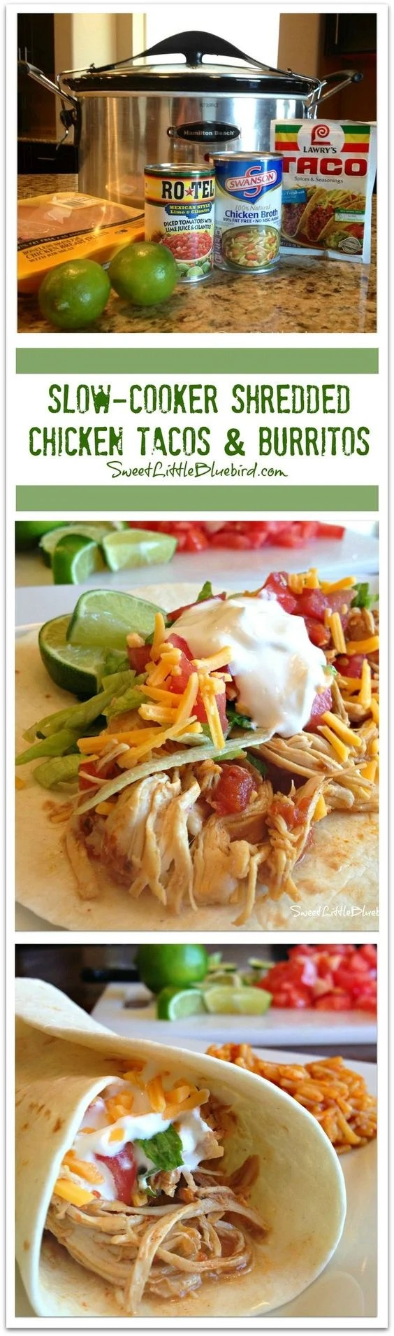 Best Slow Cooker Recipes - Shredded Chicken Tacos and Burritos
