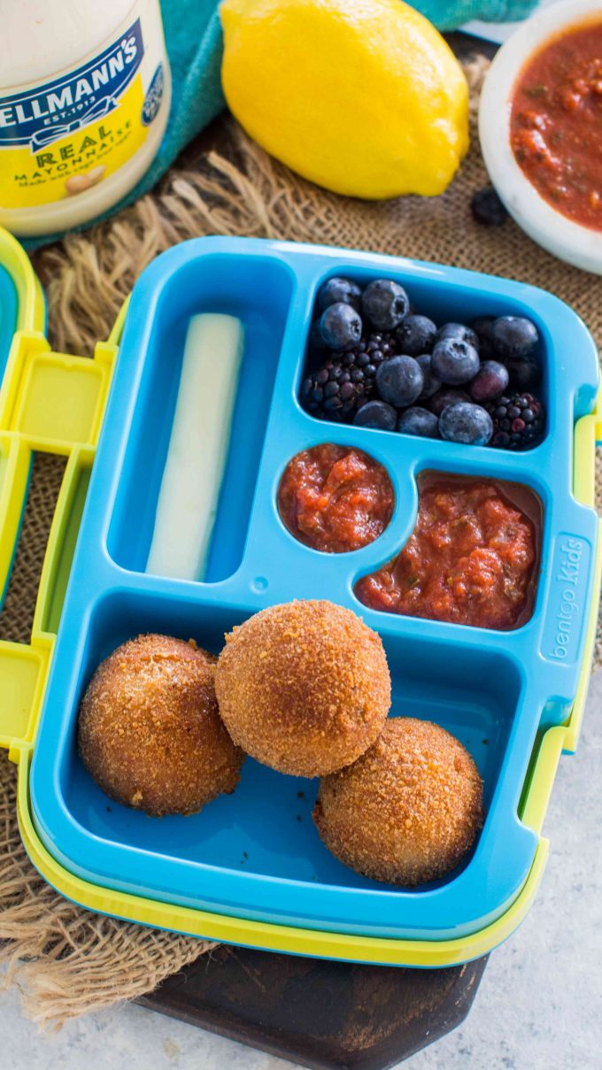 Cheesy Tuna Melt Balls are crispy on the outside and tender and cheesy on the inside. Packed with protein, they are the perfect snack or lunch box staple.