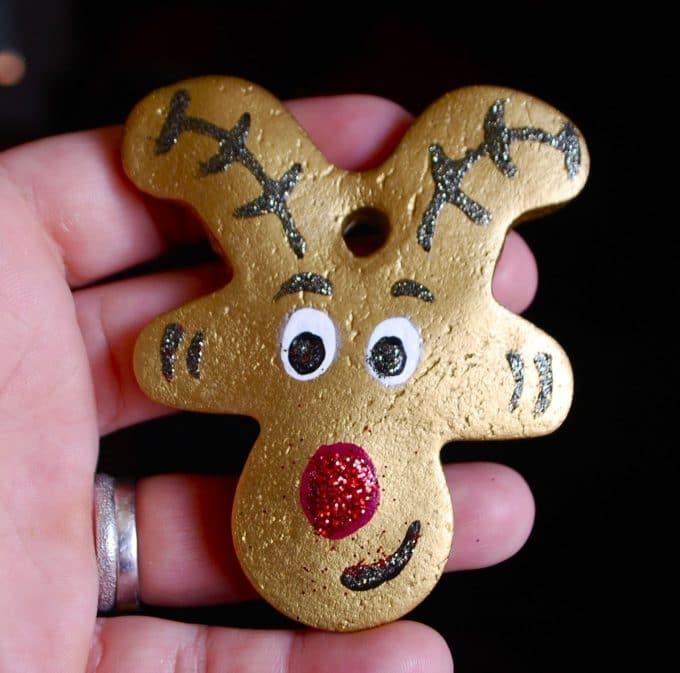 Reindeer Salt Dough Ornament using an upside down Gingerbread Man cookie cutter - Over 30 of the BEST Christmas Salt Dough Ornaments