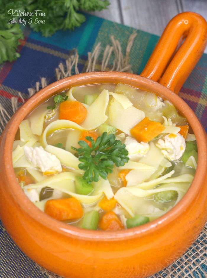 Instant Pot Chicken Noodle Soup is just what you need on these cold winter days. Fresh carrots, celery, basil and oregano with chicken will warm your belly!