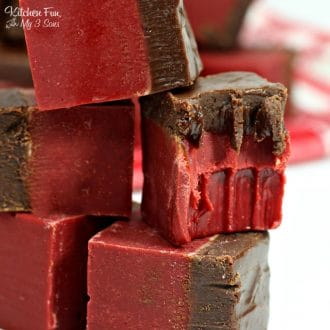 Red Velvet Fudge is a decadent chocolate dessert for Valentine's Day.