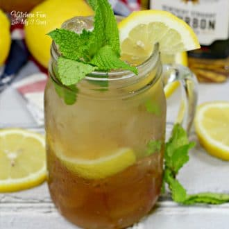 Grab a mason jar and invite friends over to enjoy the Bourbon Mint Tea that promises to put a little kick in summer's favorite drink - iced tea.