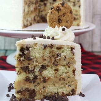 This Milk and Cookies Cake is a decadent dessert loaded with chocolate chips and rich vanilla.