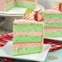 Delicious Strawberry Lime Cake with an easy lime green cake and homemade strawberry frosting.   Yummy cake recipe.
