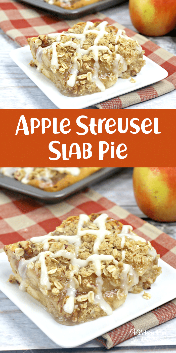 It's time to pick some apple pie filling and a package of cinnamon rolls and whip up this incredible Apple Streusel Slab Pie.