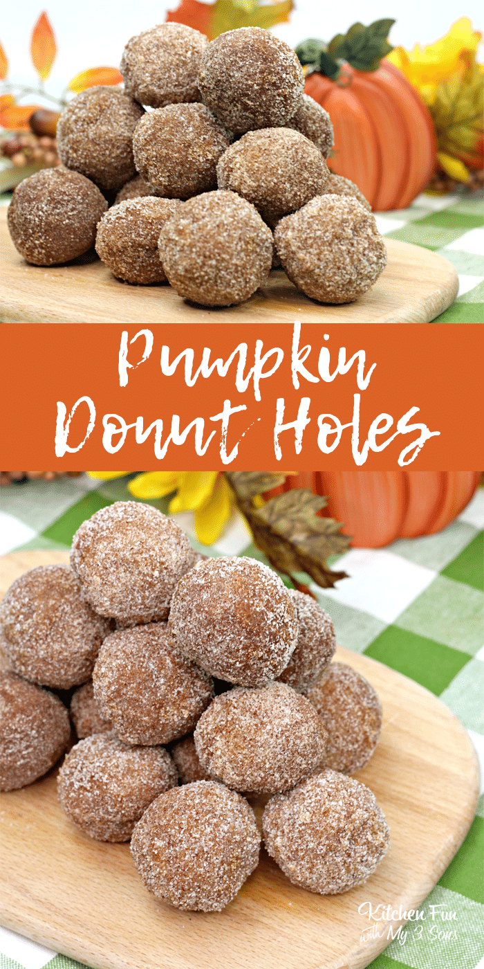 Pumpkin Donut Holes are made with real pumpkin puree and coated in delicious cinnamon, sugar and pumpkin pie spice. | Pumpkin Recipes | Fall Dessert Recipes
