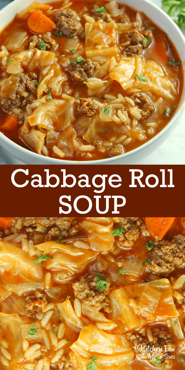 cabbage roll soup promo image for pinterest