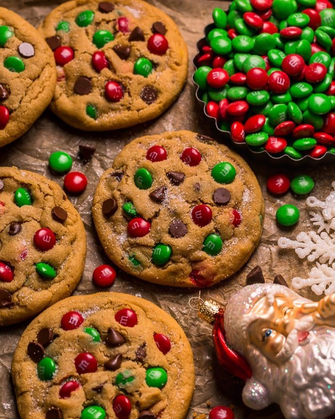 Santa's Peanut Butter M&M Cookies