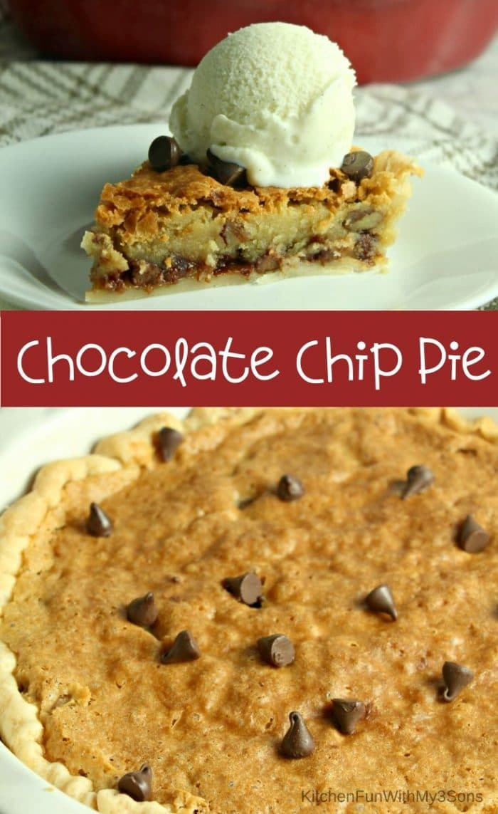 Collage image of chocolate chip pie slices and whole pie