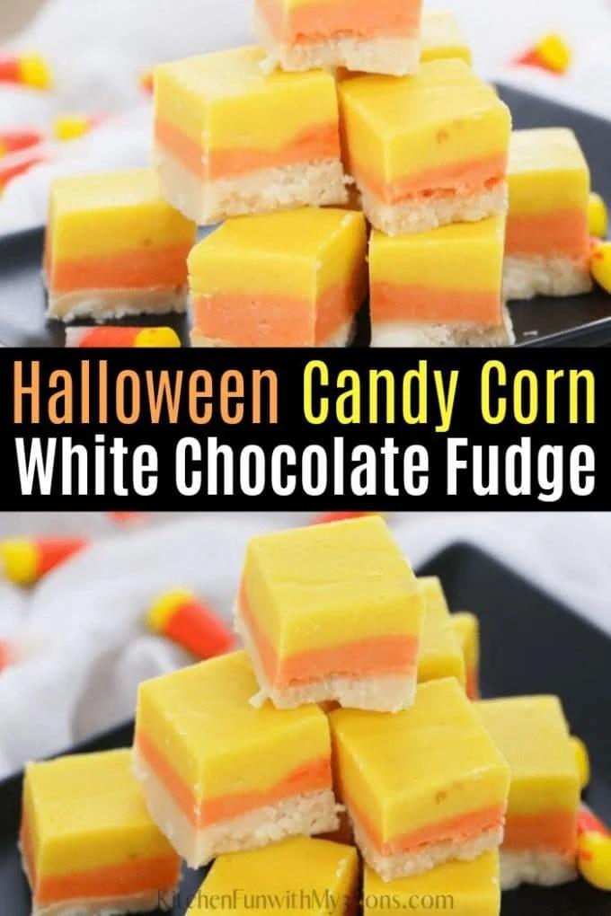 White Chocolate Halloween Candy Corn Fudge