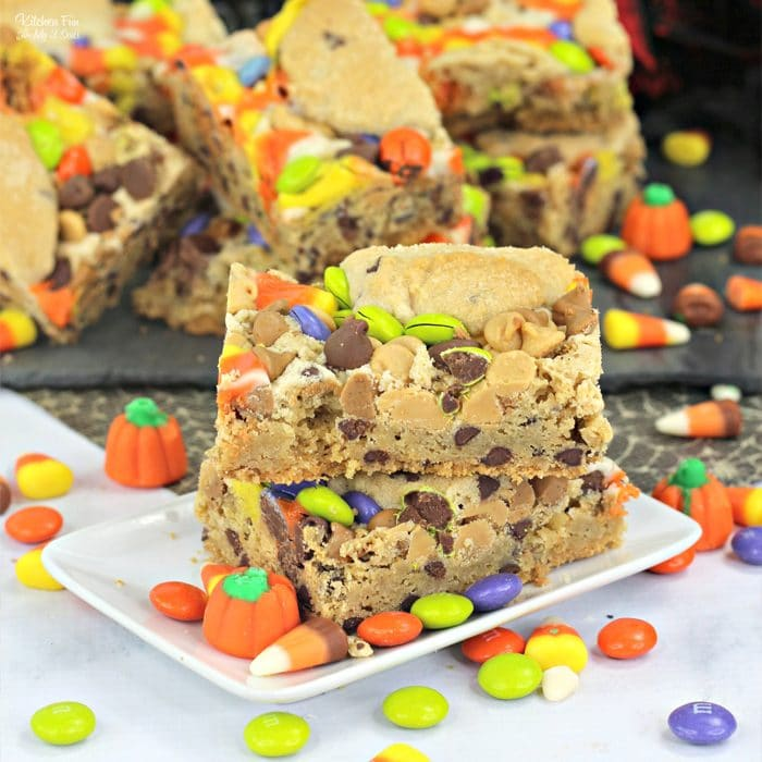 Leftover Halloween Candy Cookie Bars