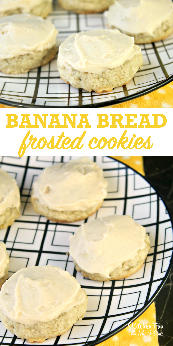 Banana Bread Cookies are a delicious bite-sized version of your favorite dessert made with a yummy homemade frosting on top.