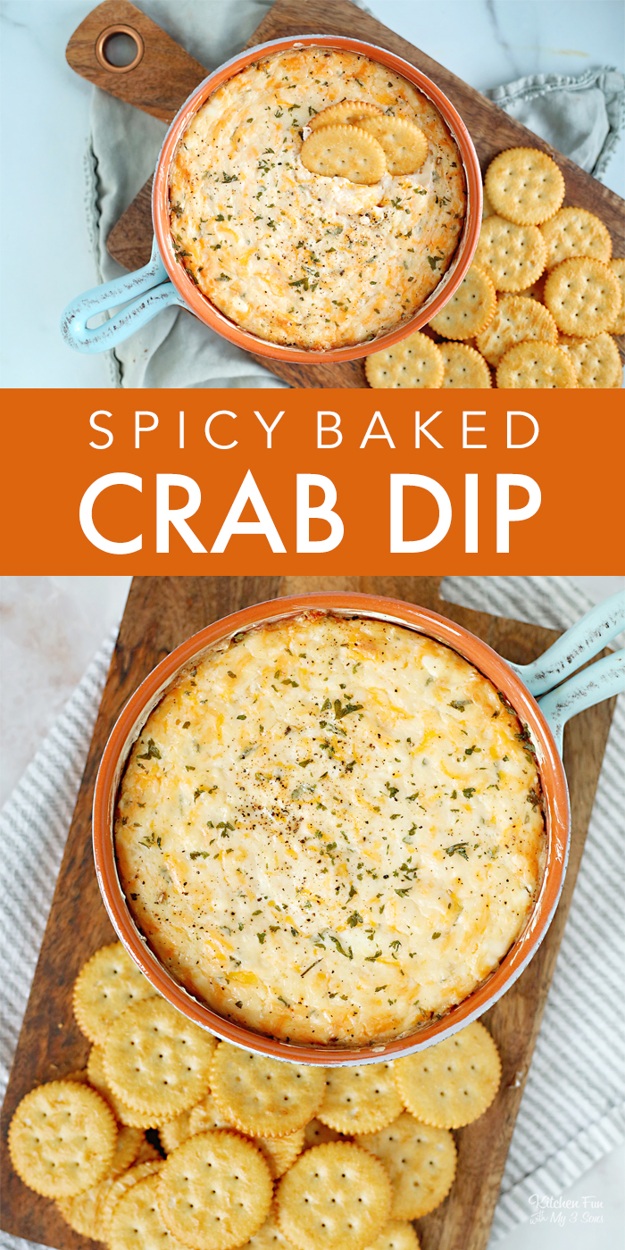 This Crab Dip Recipe is a delicious baked dip with crab meat, cream cheese, buffalo sauce and parmesan. Serve this with crackers straight out of the oven.