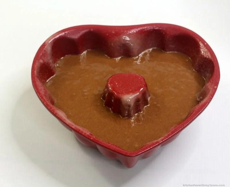 cake batter in heart shaped bundt pan