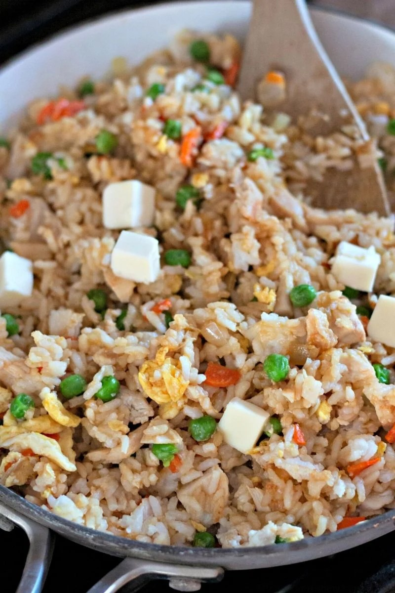 chicken fried rice together in a pan