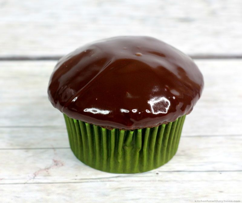 chocolate cupcake topped with ganache