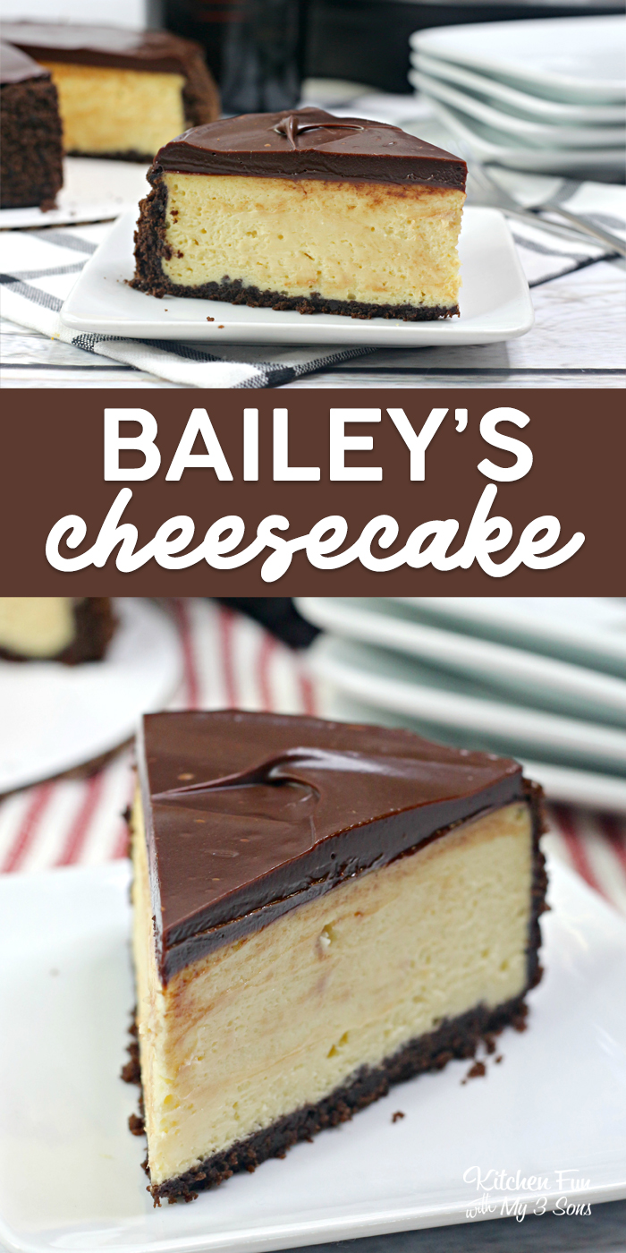 Baileys Cheesecake in the Instant Pot is a delicious recipe with cream cheese, Bailey's Irish Cream on a gragham cracker crust and chocolate ganache on top.