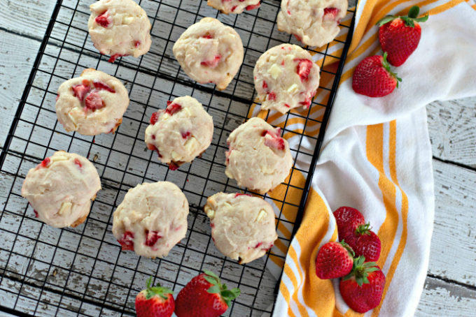 Strawberry White Chocolate Chunk Cookies on a wire cooling rack