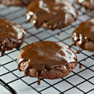 Easy Frosted Chocolate Pecan Cookies