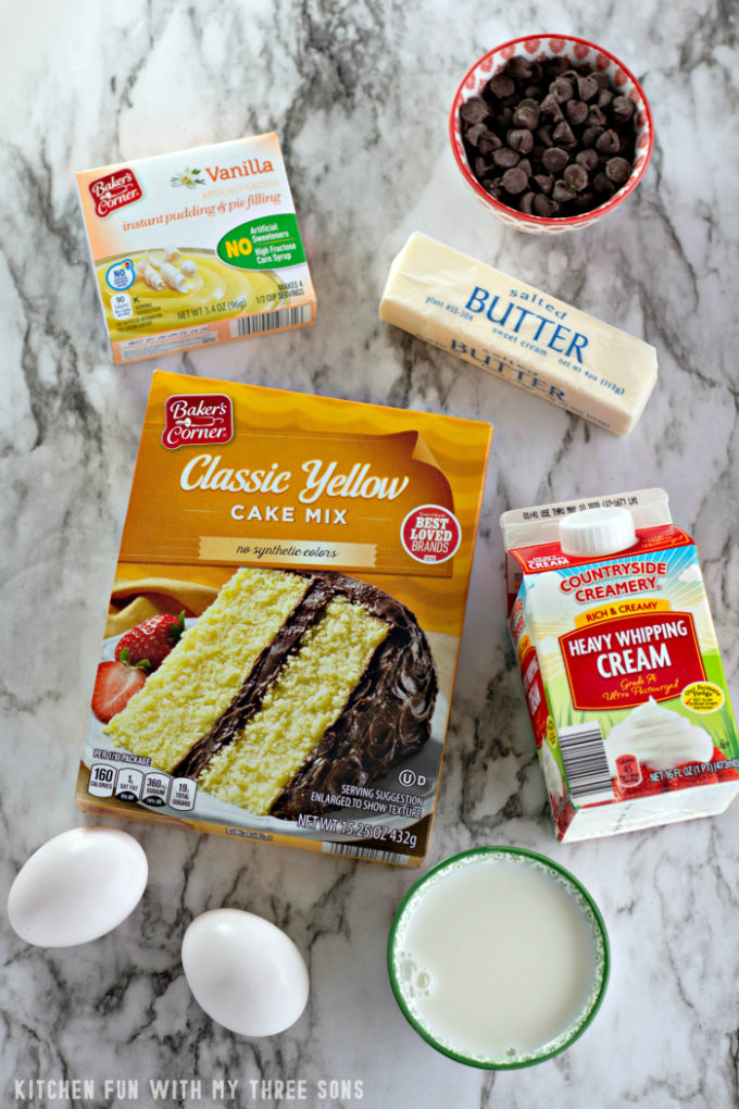 Ingredients to make Boston Cream Pie Cookie Cups on a marble counter