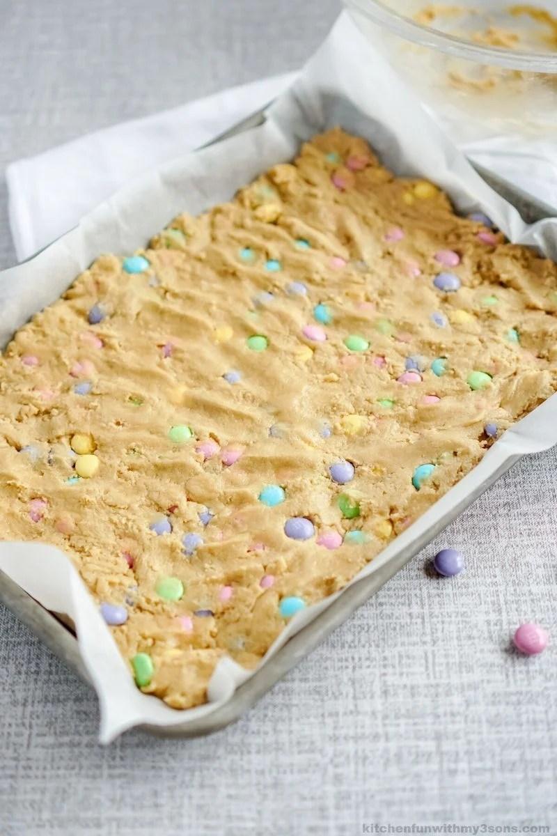 blondie dough in pan