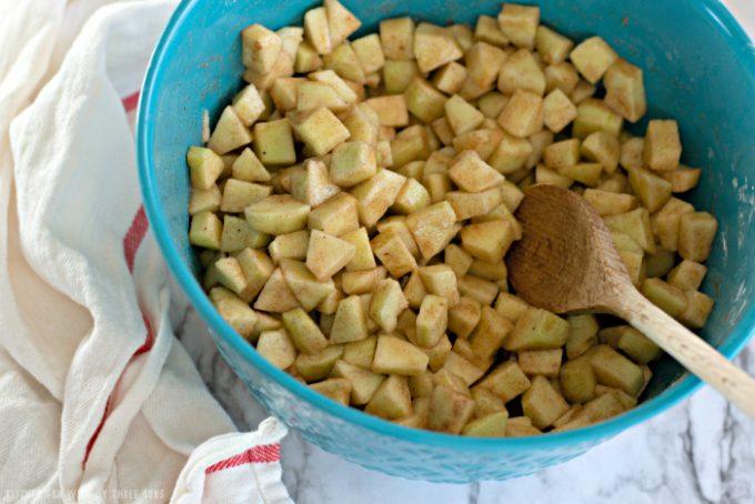 chopped apples for Apple Slab Pie